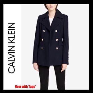NWT Calvin Klein Peacoat Jacket XSP Navy